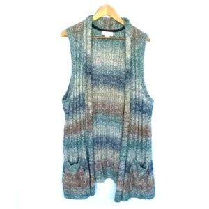CJ Banks Cable Knit Open Front Cardigan